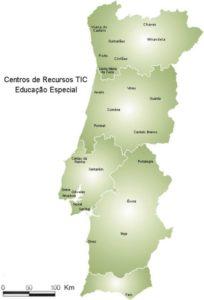 Mapa de Portugal com a localização dos CRTIC
